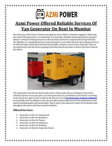 Van Generator on Rent in Mumbai! Call- 9870270912 by