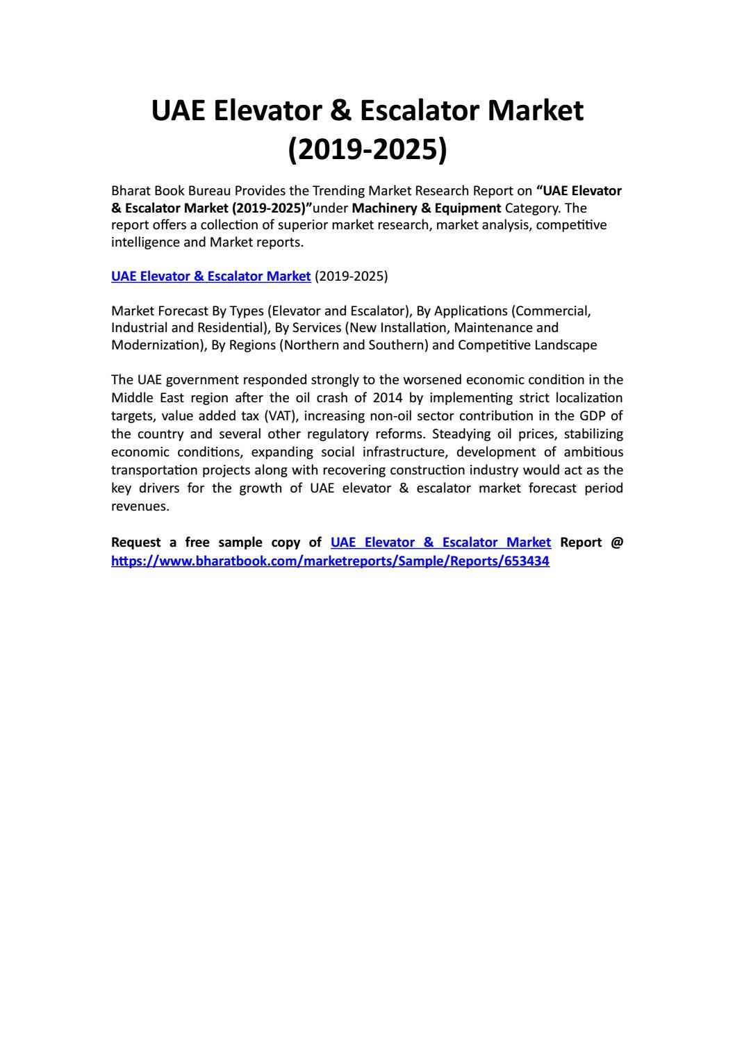 UAE Elevator & Escalator Market (2019-2025) by Bharat Book