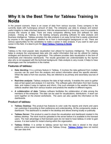 Why It Is The Best Time For Tableau Training In Noida By Danish Khan Issuu