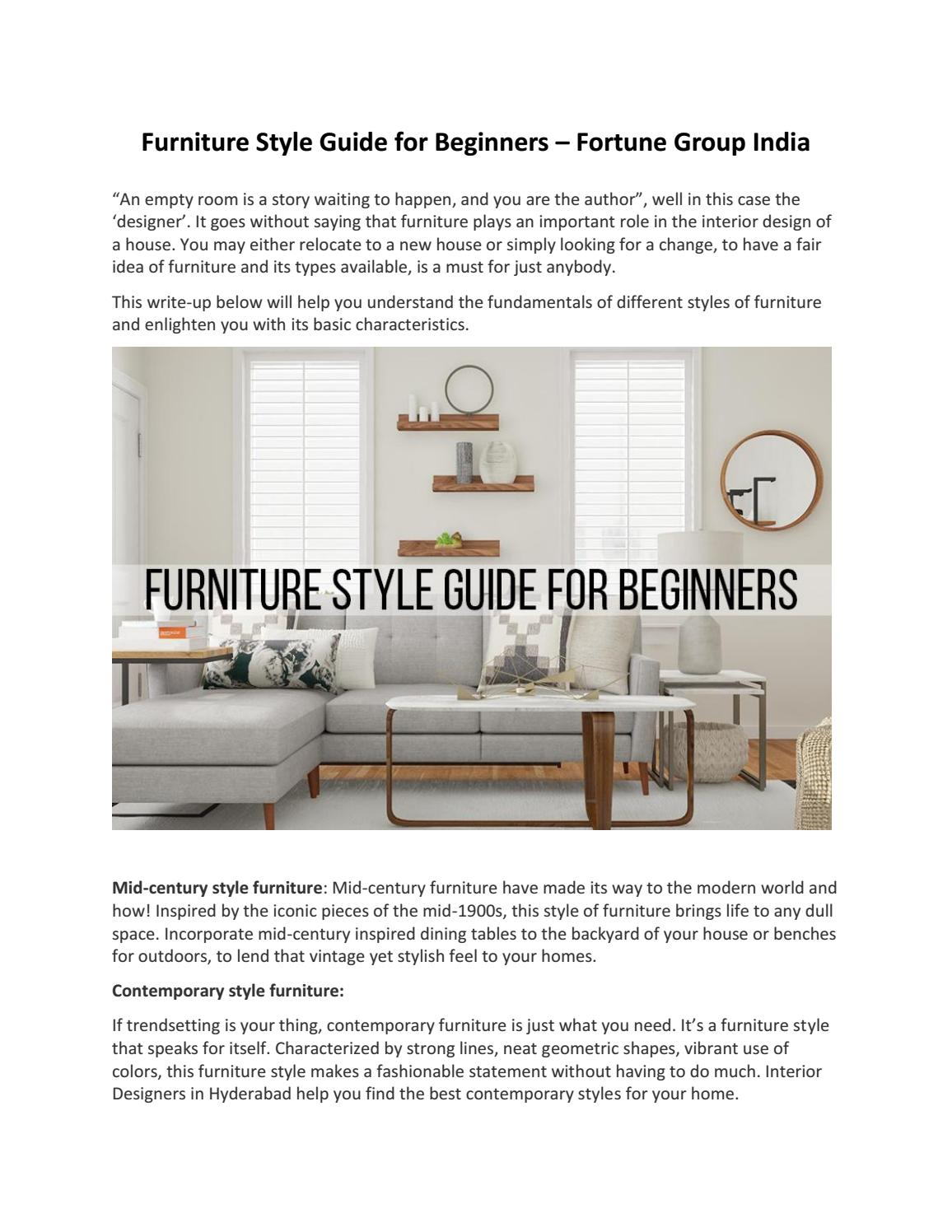 Furniture Style Guide For Beginners Fortune Group India By