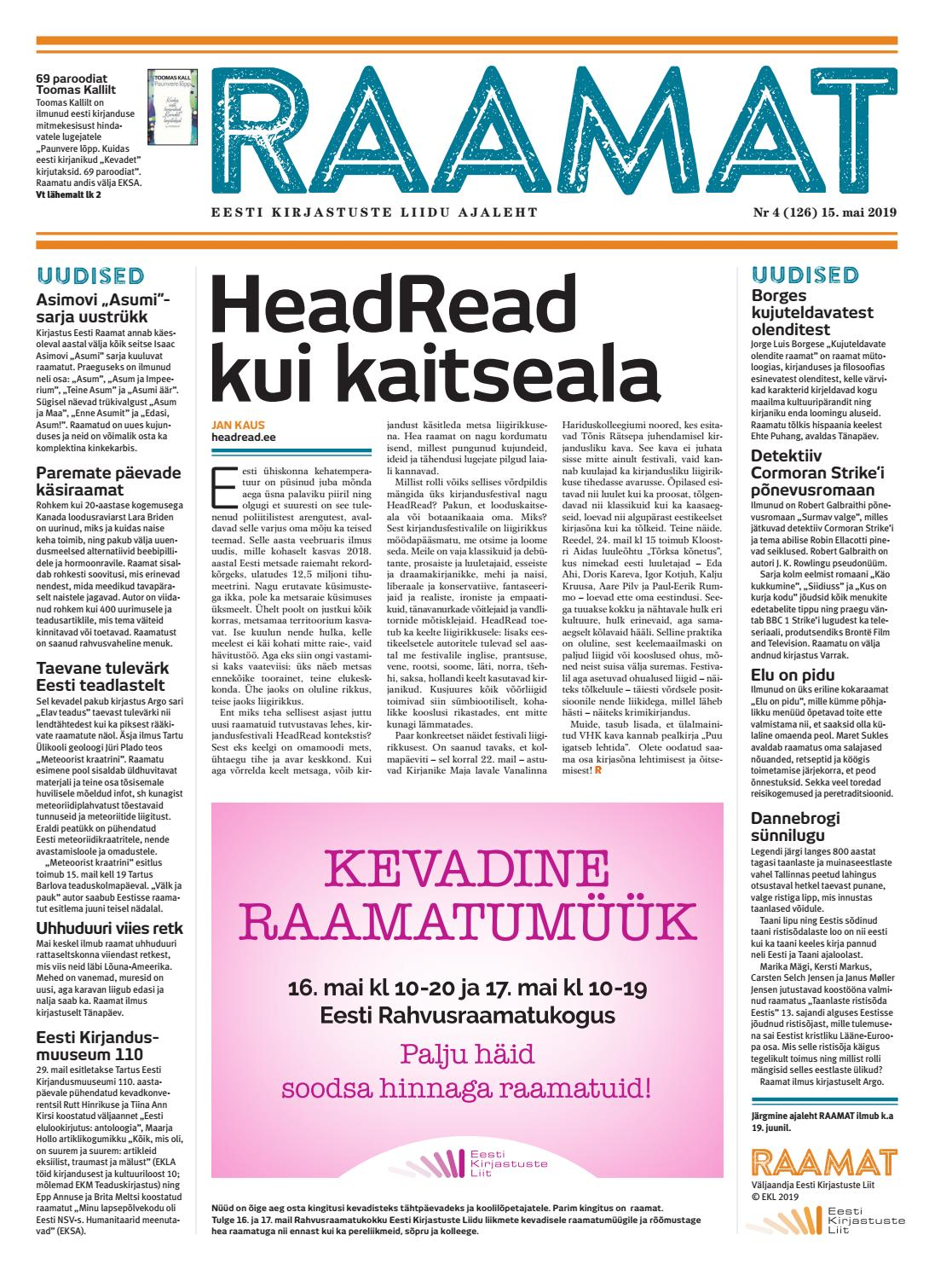 9ebecc4af7e Ajaleht RAAMAT nr 126 (mai 2019) by Kaidi Urmet - issuu