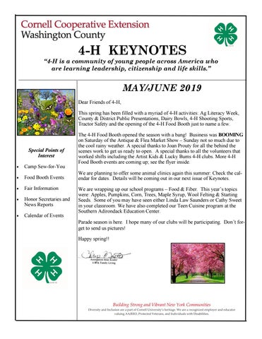 Page 1 of CCE of Washington County 4-H Keynotes May - June