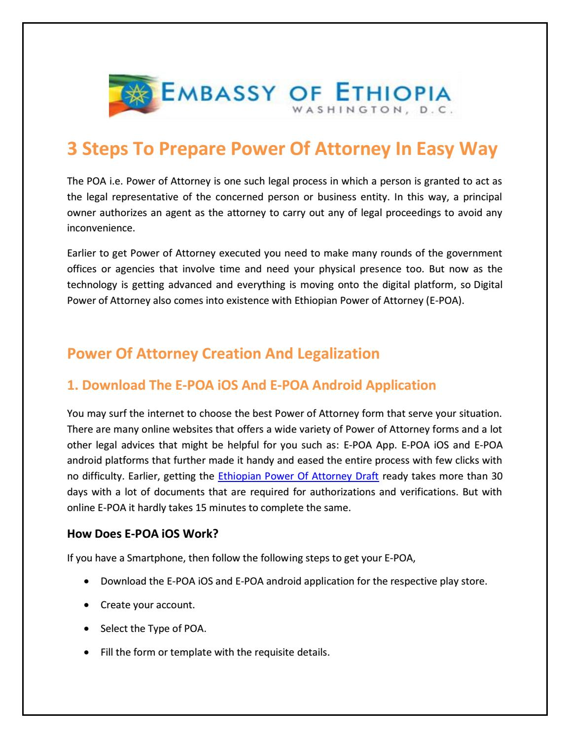 power of attorney form ethiopian embassy  Ethiopian Power Of Attorney App by ethiopianepoa - issuu