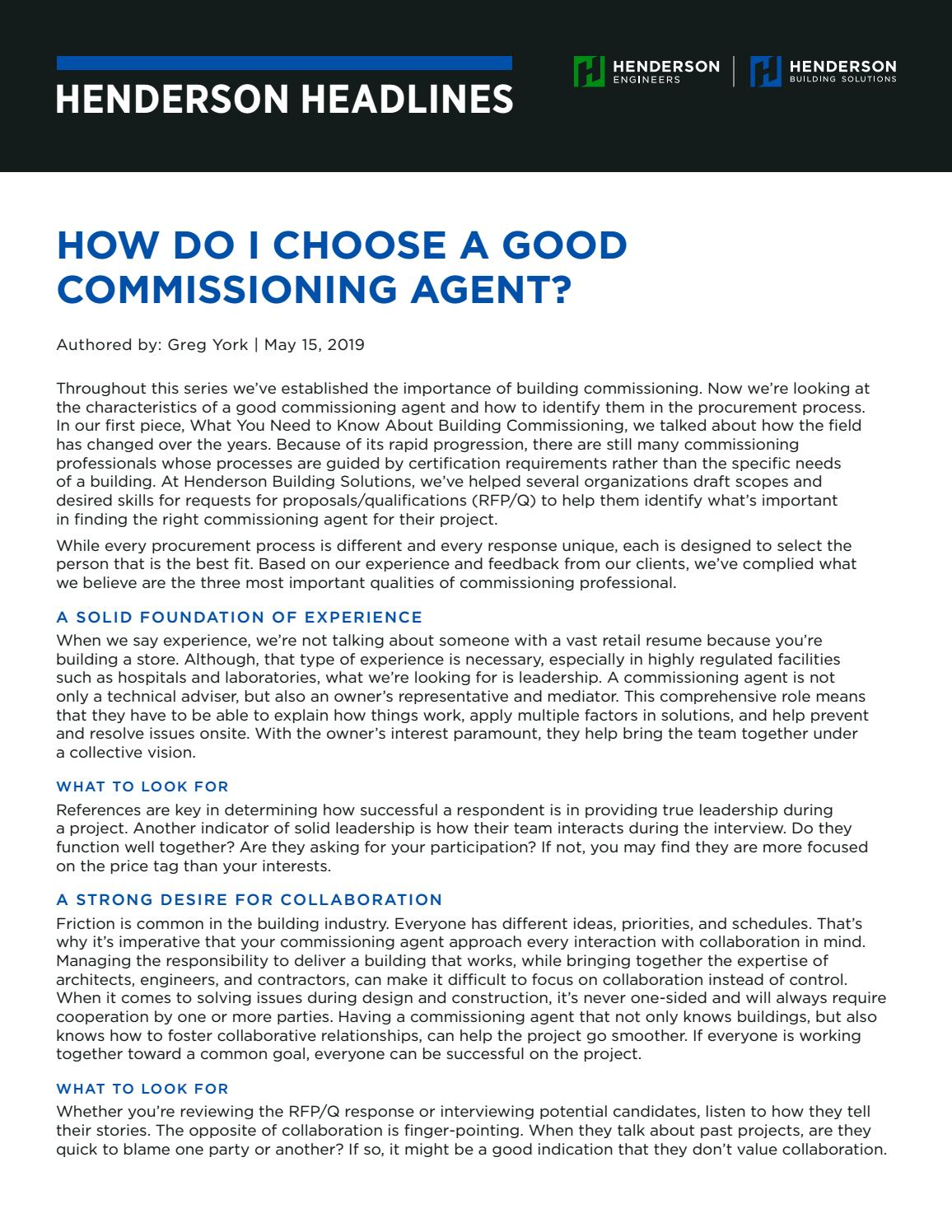 How Do I Choose A Good Commissioning Agent? by