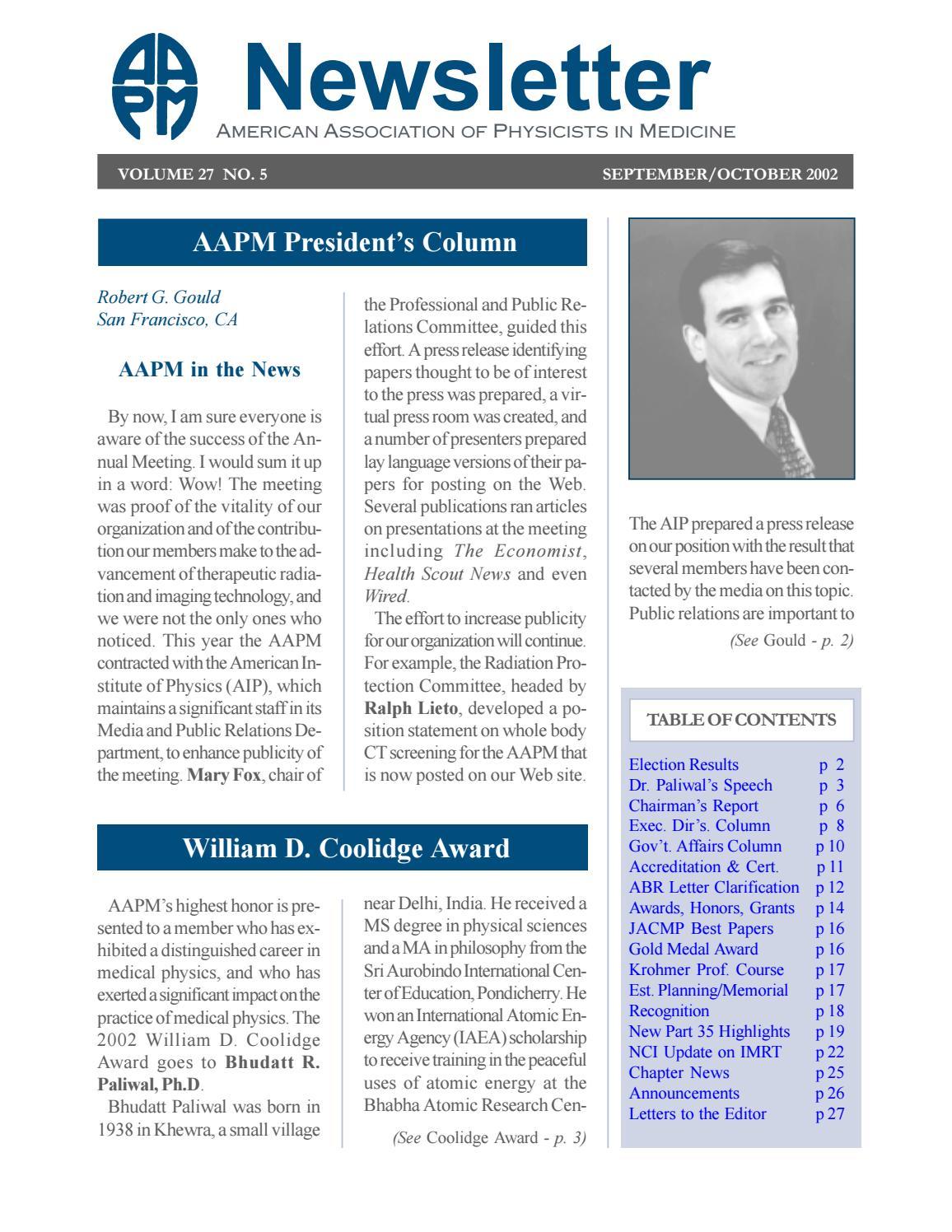 AAPM Newsletter September/October 2002 Vol  27 No  5 by