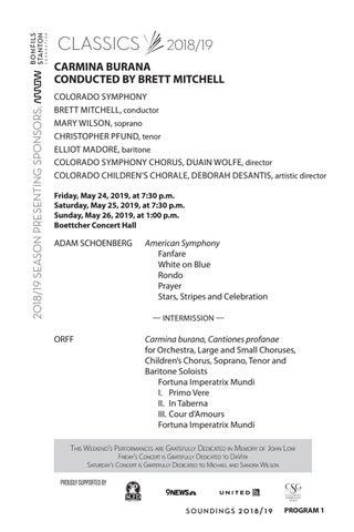 Program - Carmina Burana Conducted by Brett Mitchell by