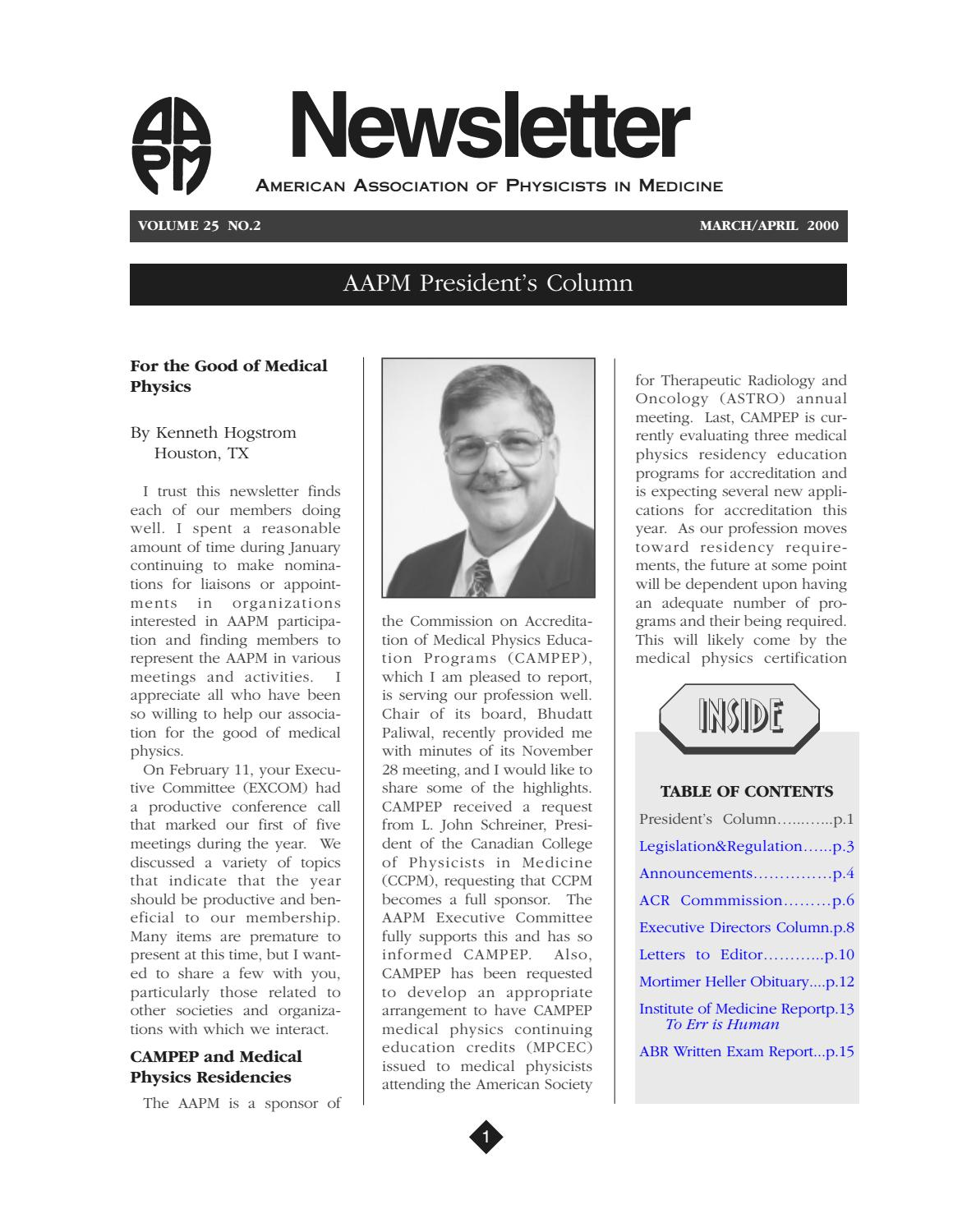 AAPM Newsletter March/April 2000 Vol  25 No  2 by aapmdocs