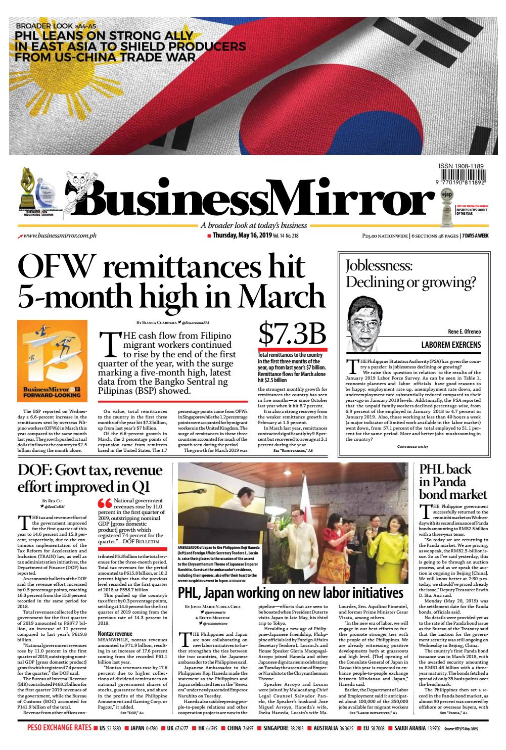 BusinessMirror May 16, 2019 by BusinessMirror - issuu