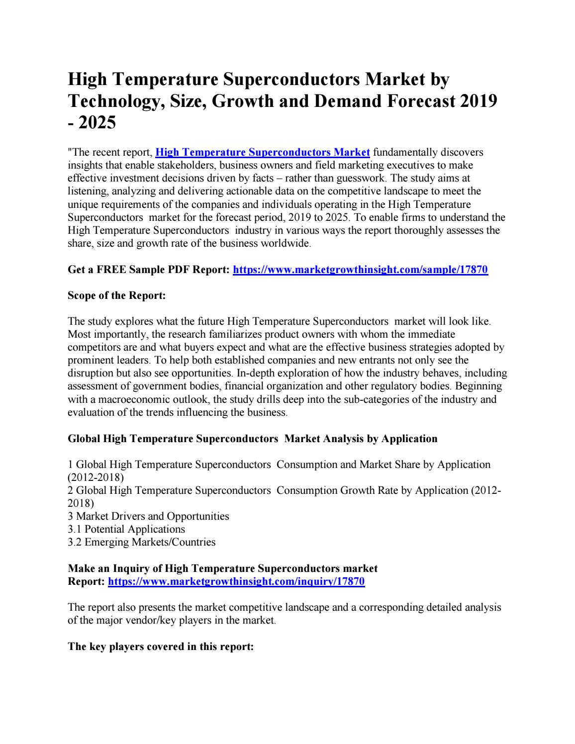 High Temperature Superconductors Market by Technology, Size