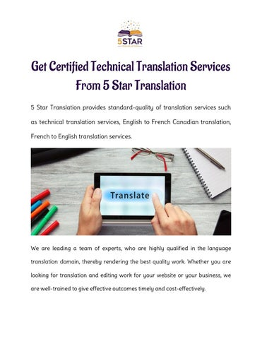 Get Certified Technical Translation Services From 5 Star Translation