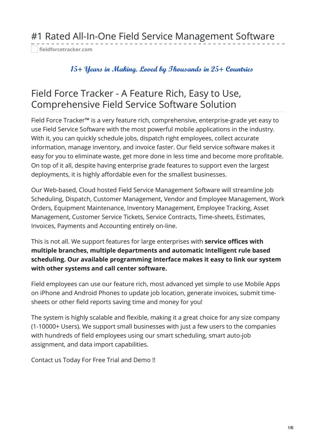 fieldforcetracker -#1 Rated All-In-One Field Service