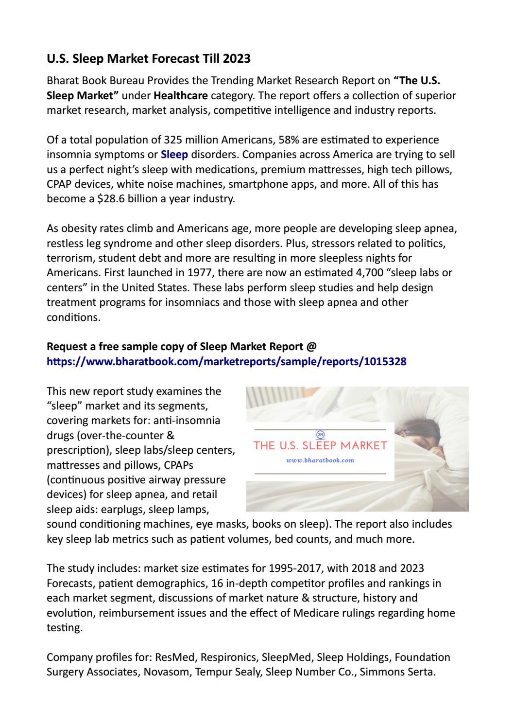 U S  Sleep Market : Revenue, Opportunity, Segment and Key