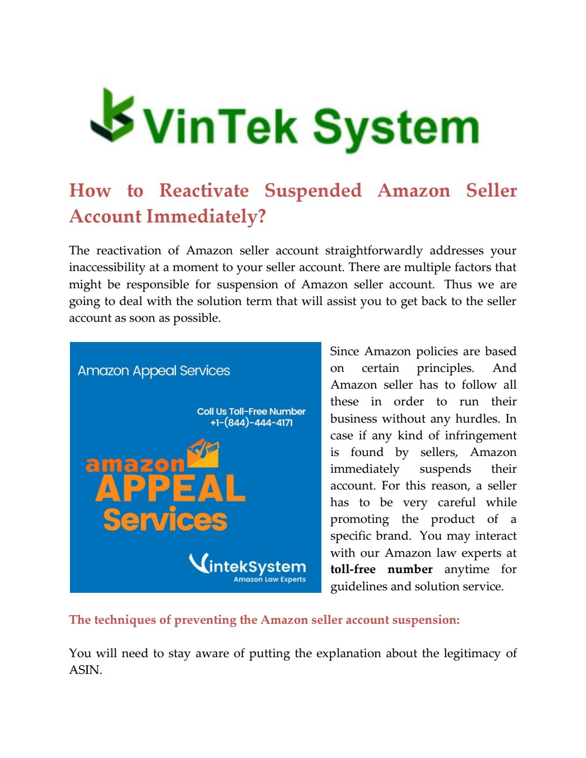 Reactivate Suspended Amazon Seller Account By Jonathanpaul960 Issuu