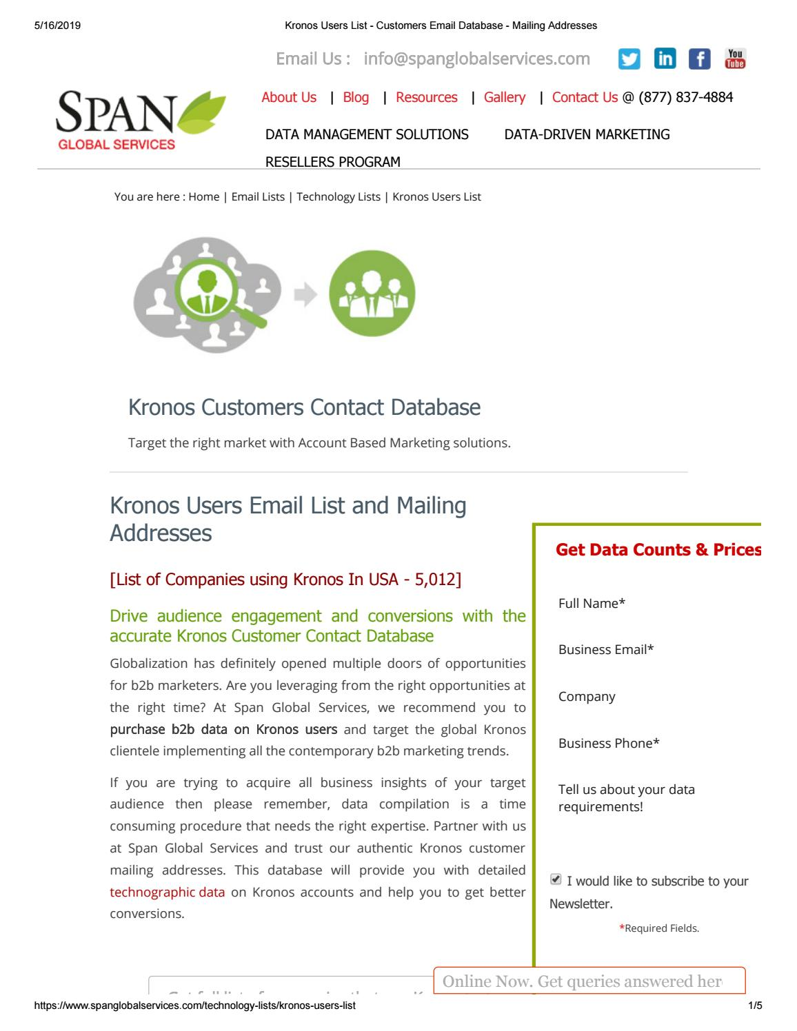 List of Companies using Kronos - Span Global Services by
