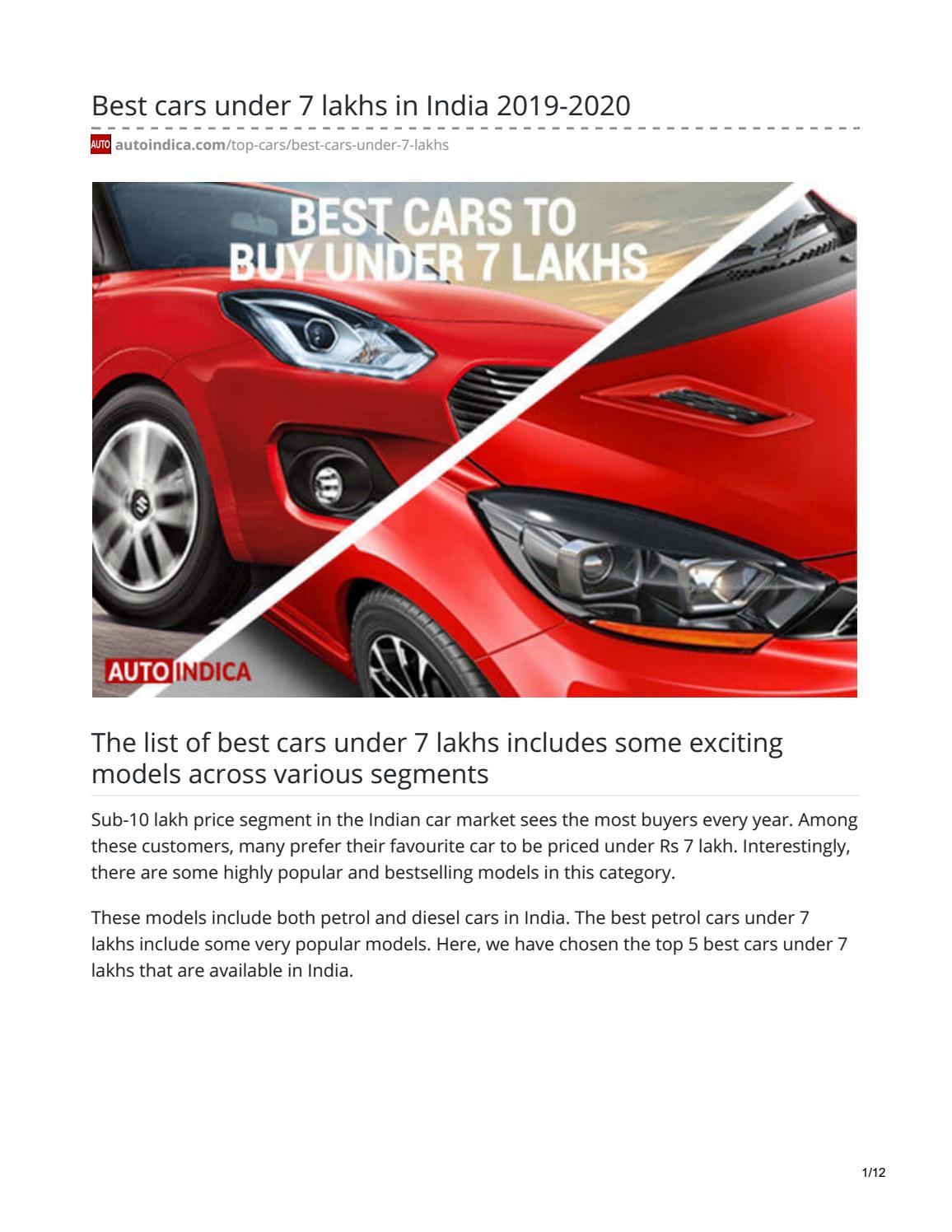 Best Selling Cars 2020.Best Cars Under 7 Lakhs In India 2019 2020 By Jay Rajput Issuu