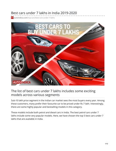 Best Cars Under 7 Lakhs In India 2019 2020 By Jay Rajput Issuu