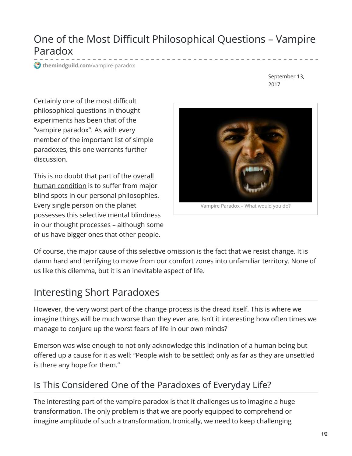 Is the Vampire Paradox Solvable? by hankreedball - issuu