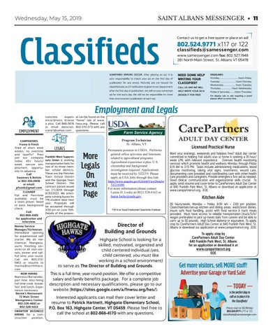 5/15/19 Classifieds by St  Albans Messenger - issuu