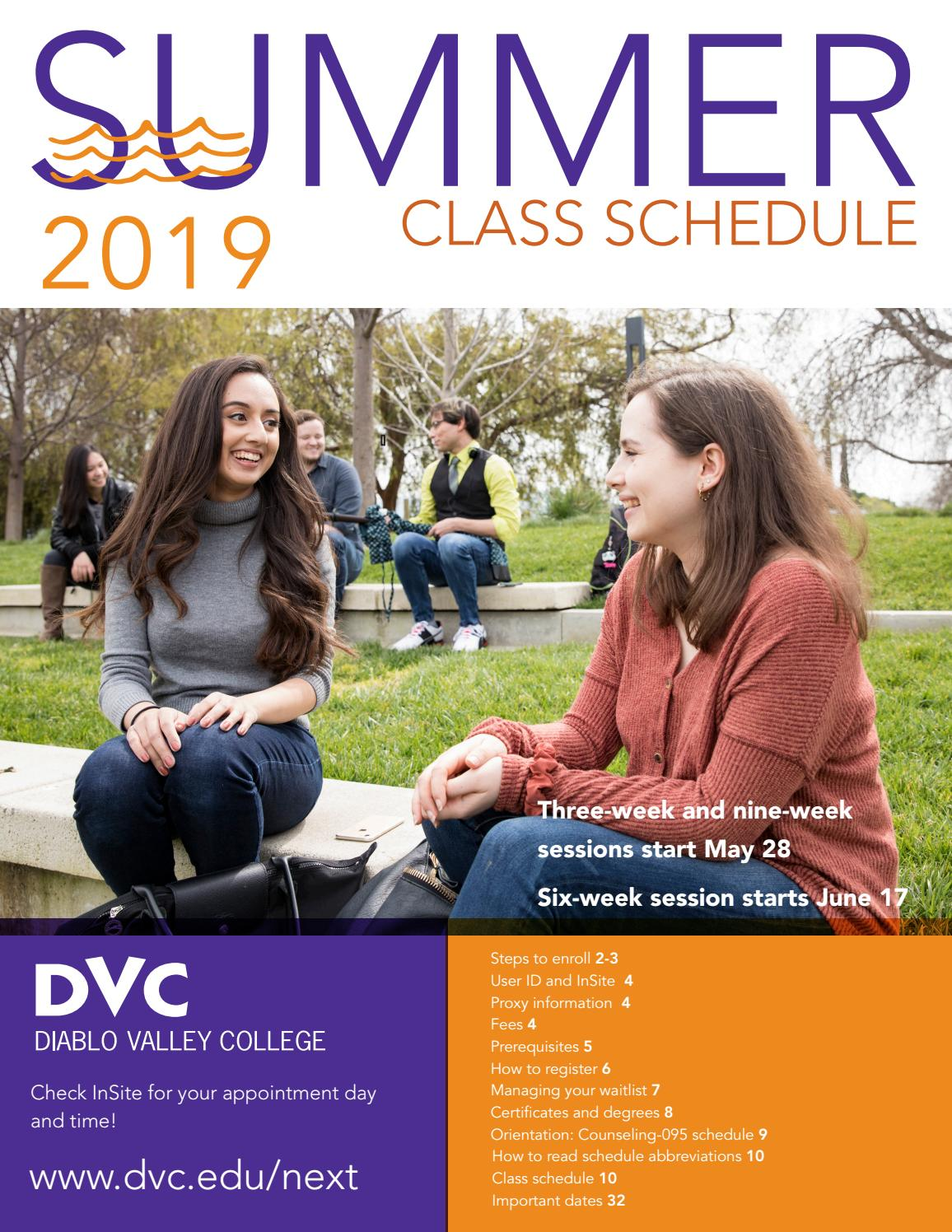 Dvc Summer 2020 Classes.Dvc Summer 2019 Class Schedule By Diablo Valley College Issuu