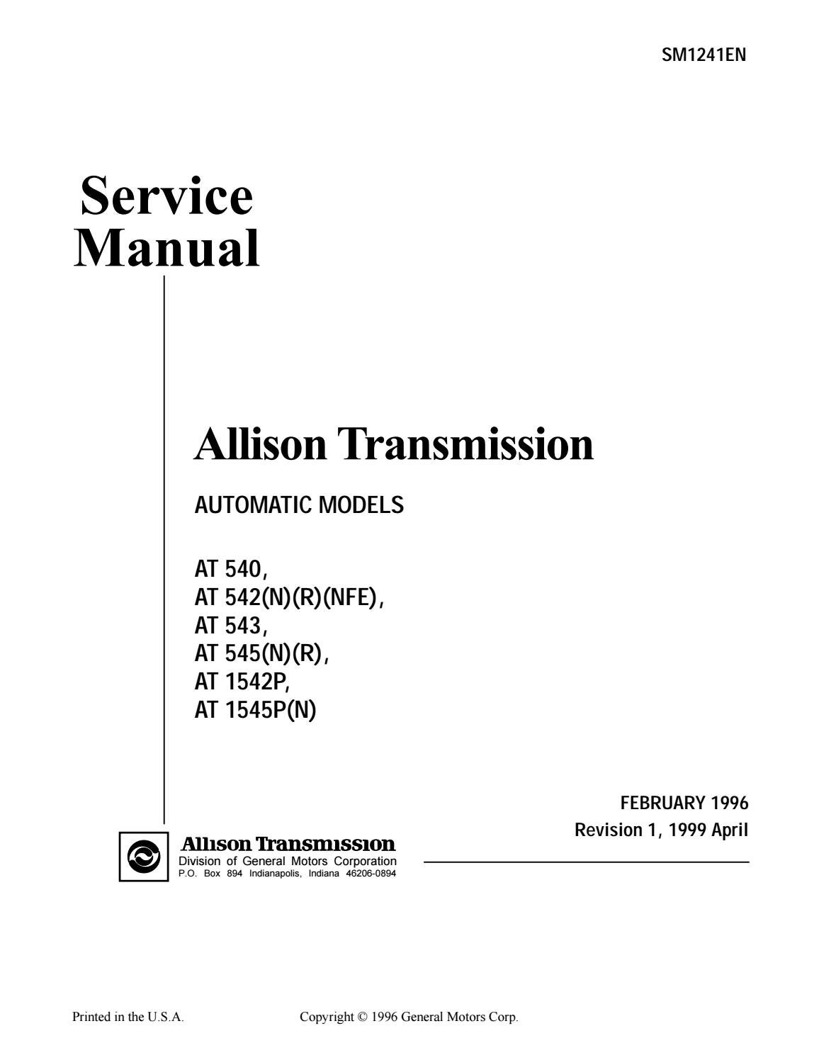 Allison Transmission AT 545 Service Repair Manual by