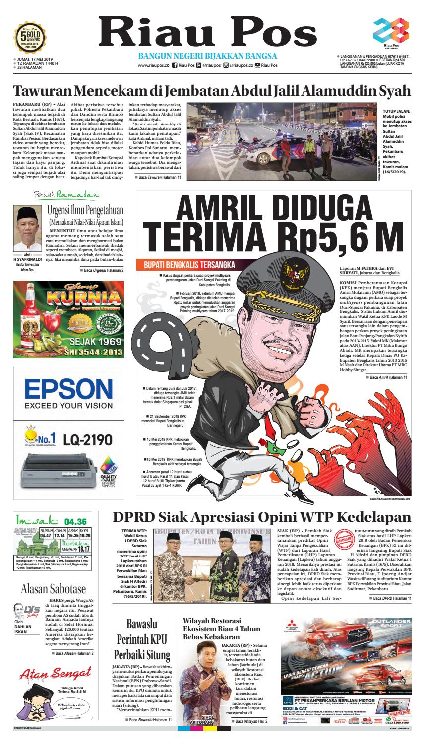 Riau Pos Edisi Jumat 17 Mei 2019 By Riau Pos Issuu