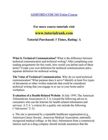 COM 340 (NEW) Effective Communication/tutorialrank com by aishwarya