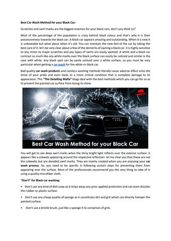 Best Way To Wash A Black Car With Simple Tips By The Detailing