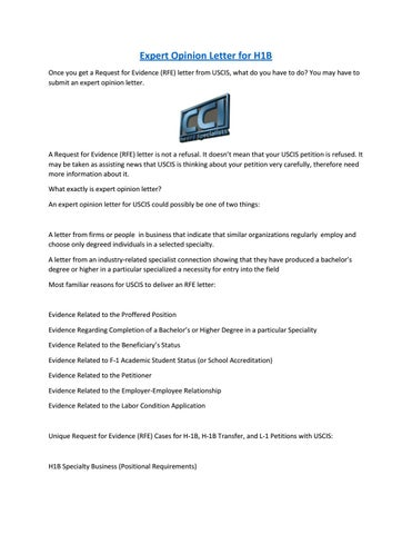 Expert Opinion Letter for H1B by thedegreespeople - issuu