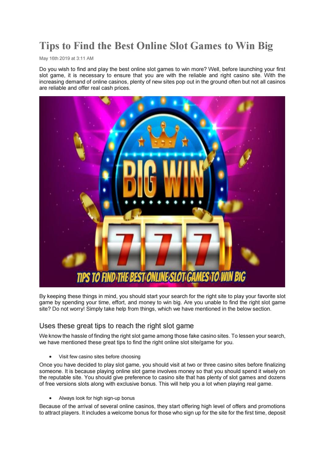Tips To Find The Best Online Slot Games To Win Big By Playleon Issuu