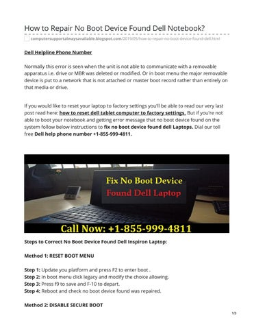 How to Repair No Boot Device Found Dell Notebook? by Iqra