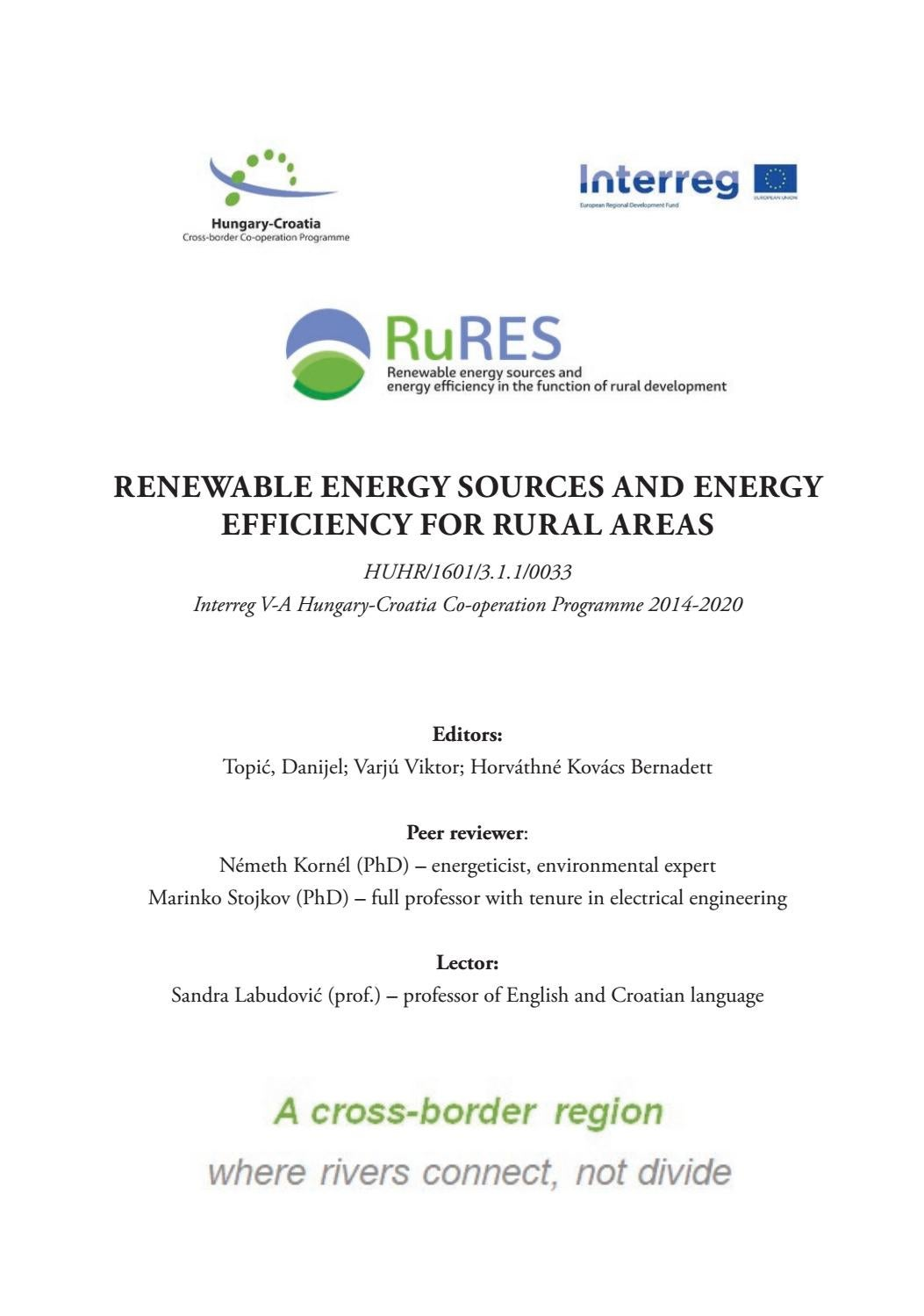 Renewable energy sources and energy efficiency for rural
