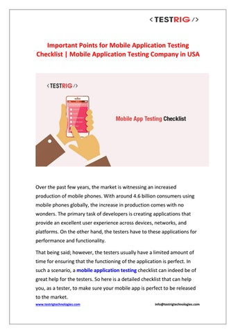 Points for mobile application testing checklist-Testrig Technologies