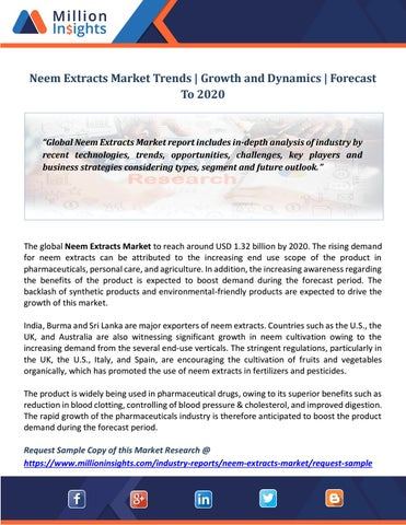 Neem Extracts Market Trends | Growth and Dynamics | Forecast