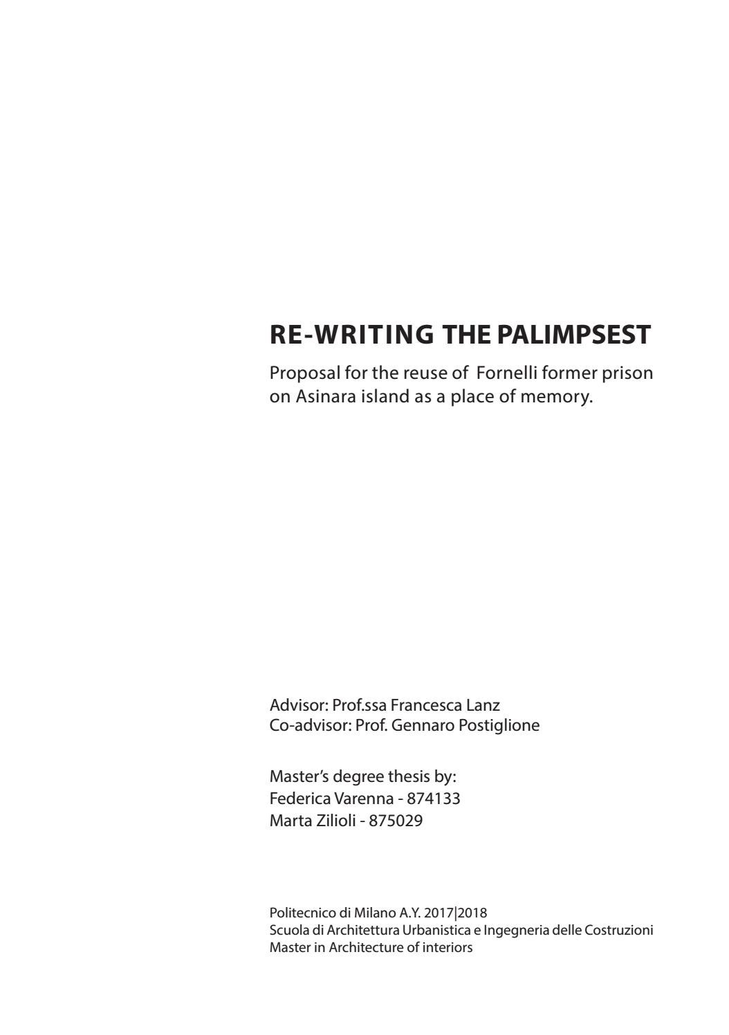 Il Parco Delle Camerette re-writing the palimpsest. i overview by federica varenna