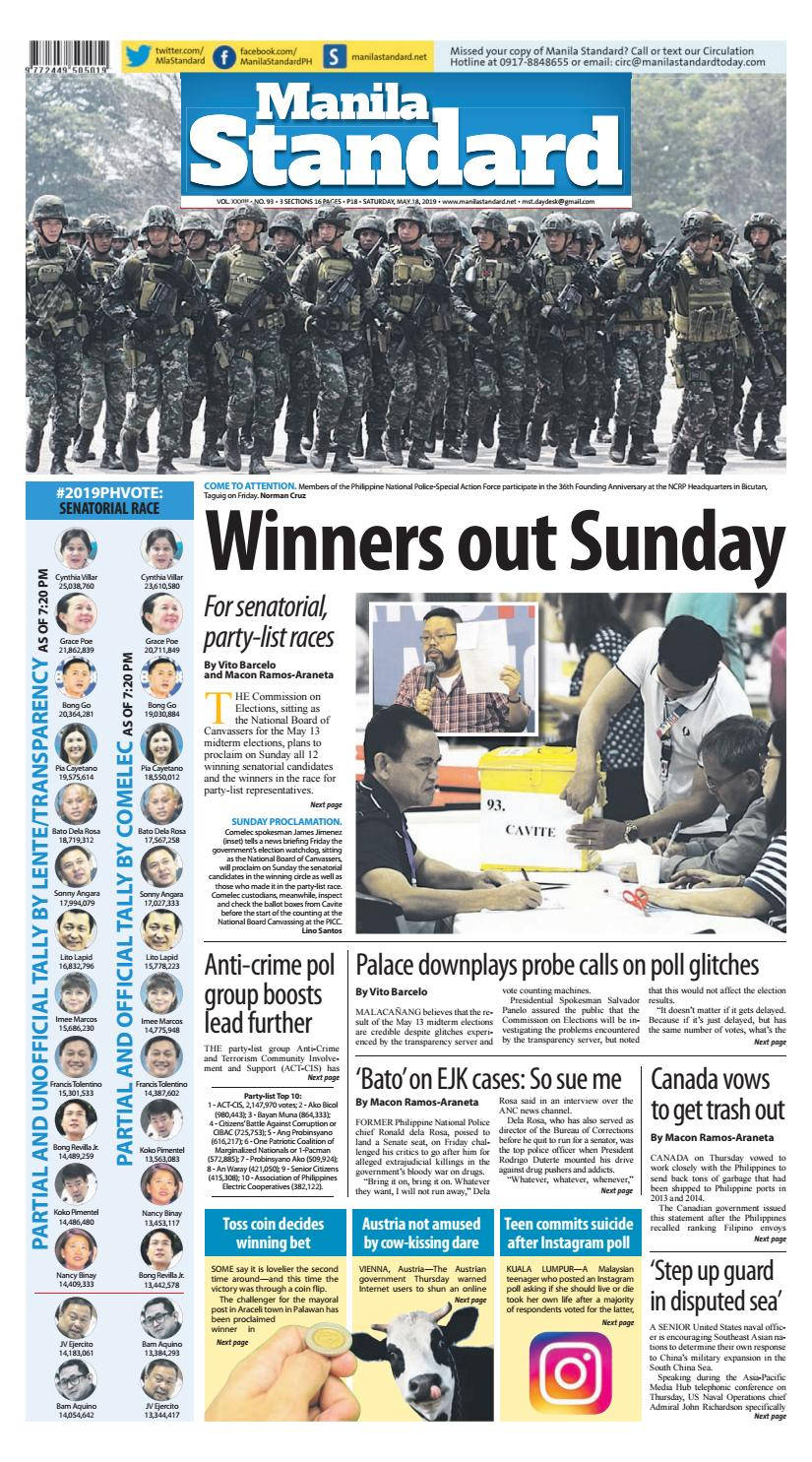 Manila Standard - 2019 May 18 - Saturday by Manila Standard