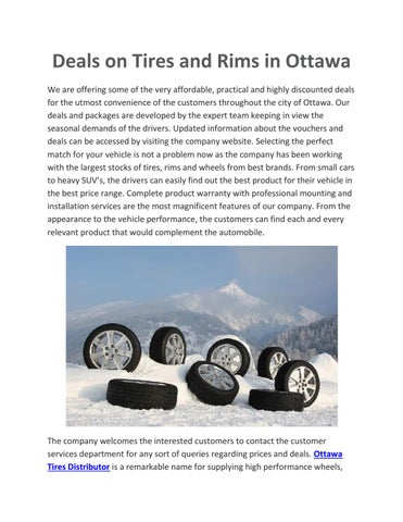 Deals On Tires >> Buy The Right Tires Online In Ottawa By Rishabh Singla Issuu