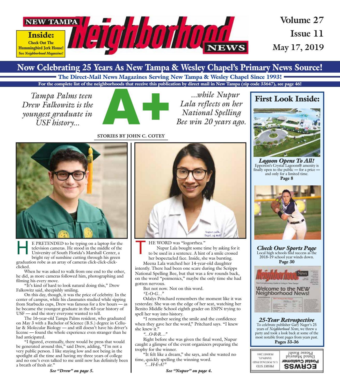 09807cd08307 New Tampa Neighborhood News, Volume 27. Issue 11, May 17, 2019 by  Neighborhood News - issuu