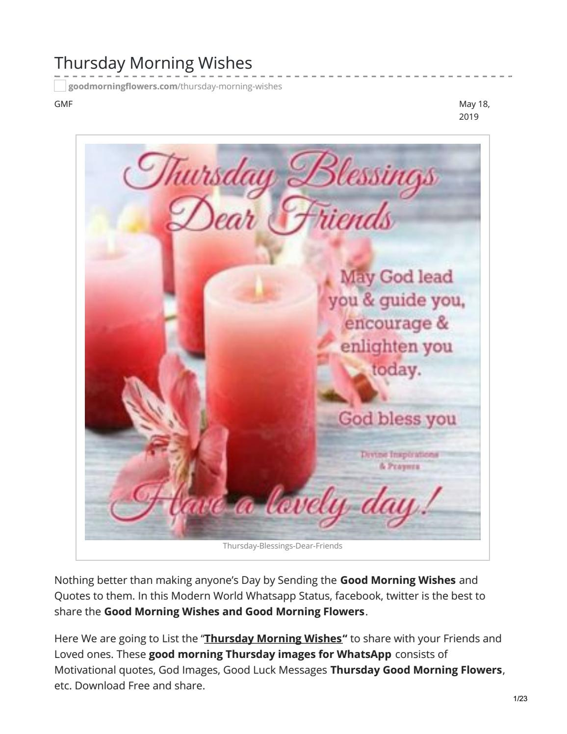 Thursday Morning Wishes by answermeangel99 - issuu