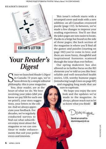 Page 8 of Editor's Letter: Your Reader's Digest