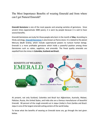 The Most Importance Benefits of wearing Emerald and from