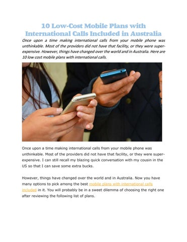 mobile plans with international calls included by Tele Choice - issuu