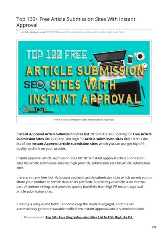 Top 100+ Free Article Submission Sites With Instant Approval