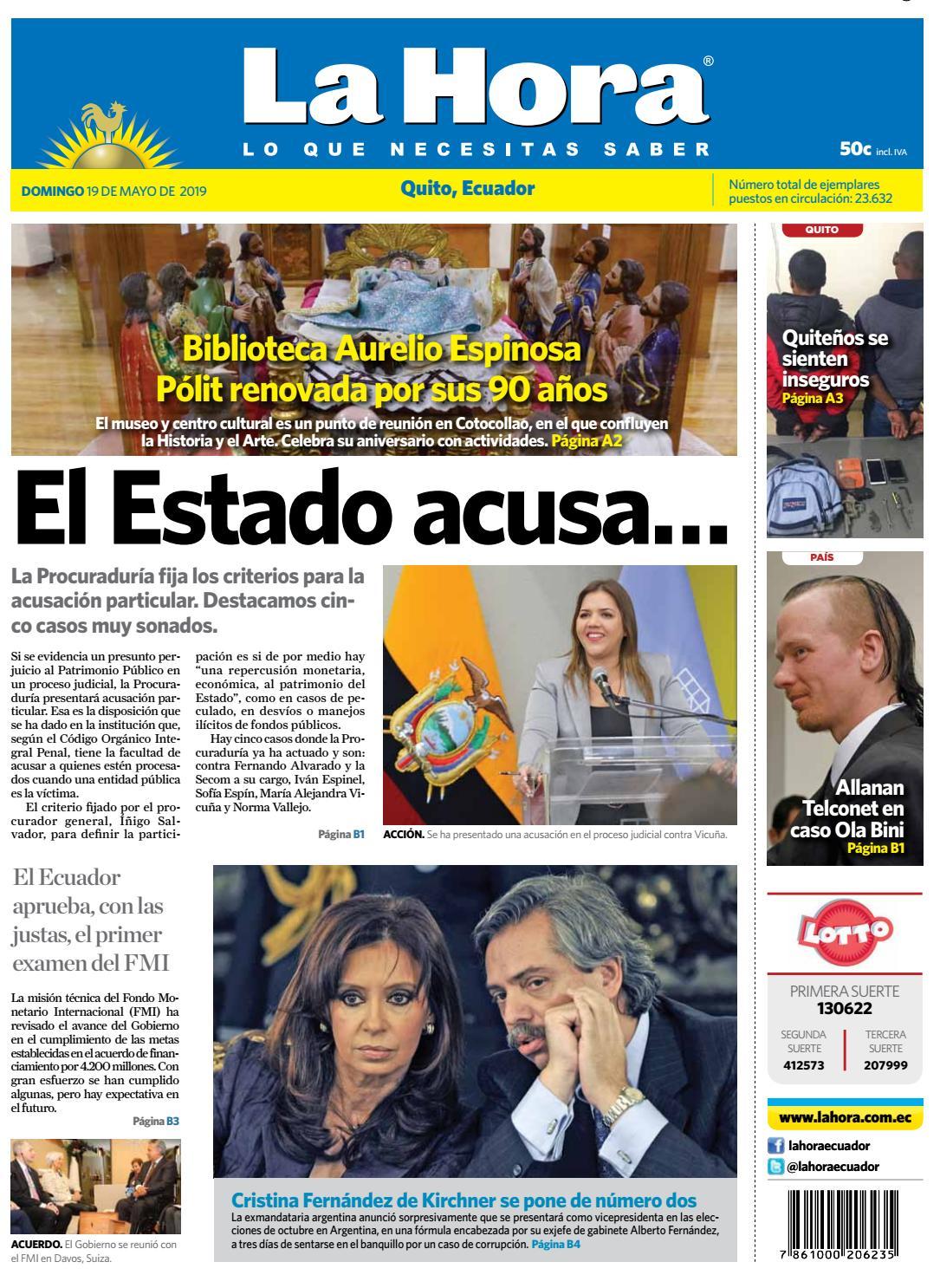 fe72083ef494 Quito 19 de mayo de 2019 by Diario La Hora Ecuador - issuu