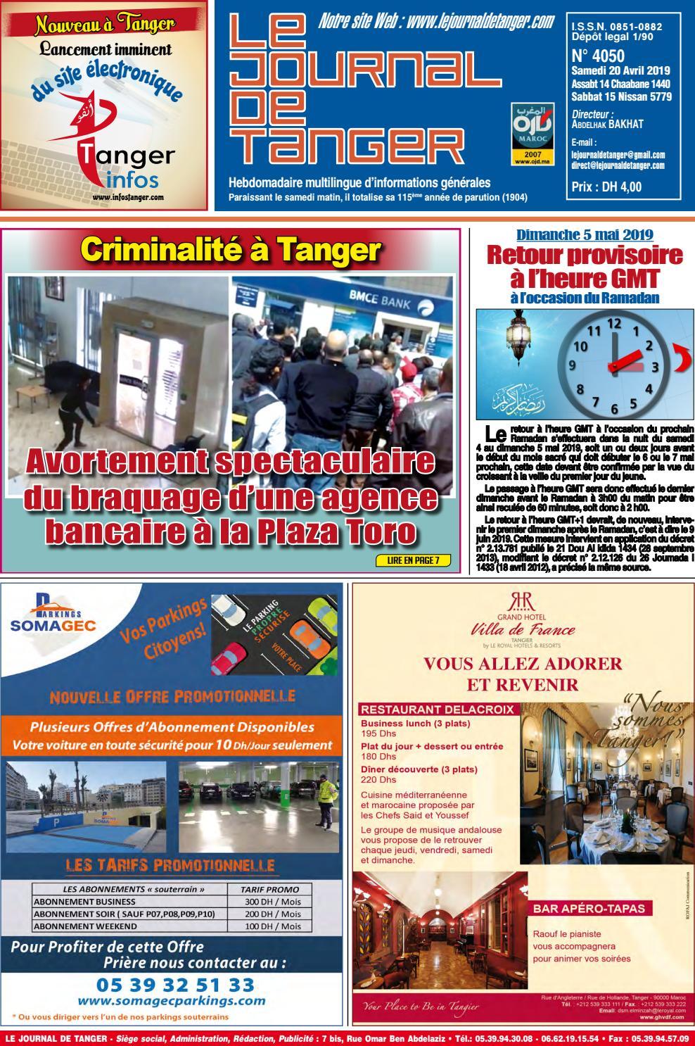 Le Journal De Tanger 20 Avril 2019 By Le Journal De Tanger Issuu