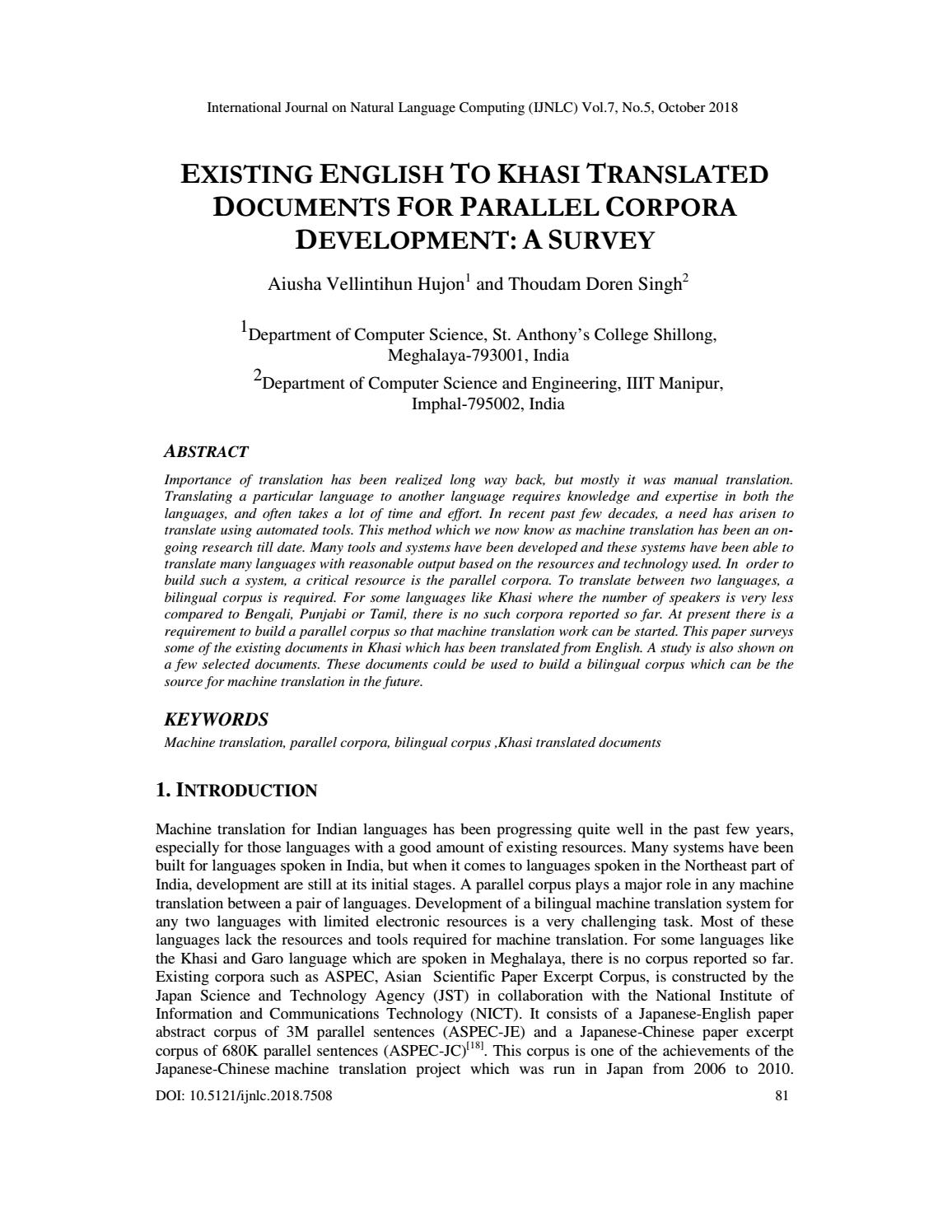 EXISTING ENGLISH TO KHASI TRANSLATED DOCUMENTS FOR PARALLEL