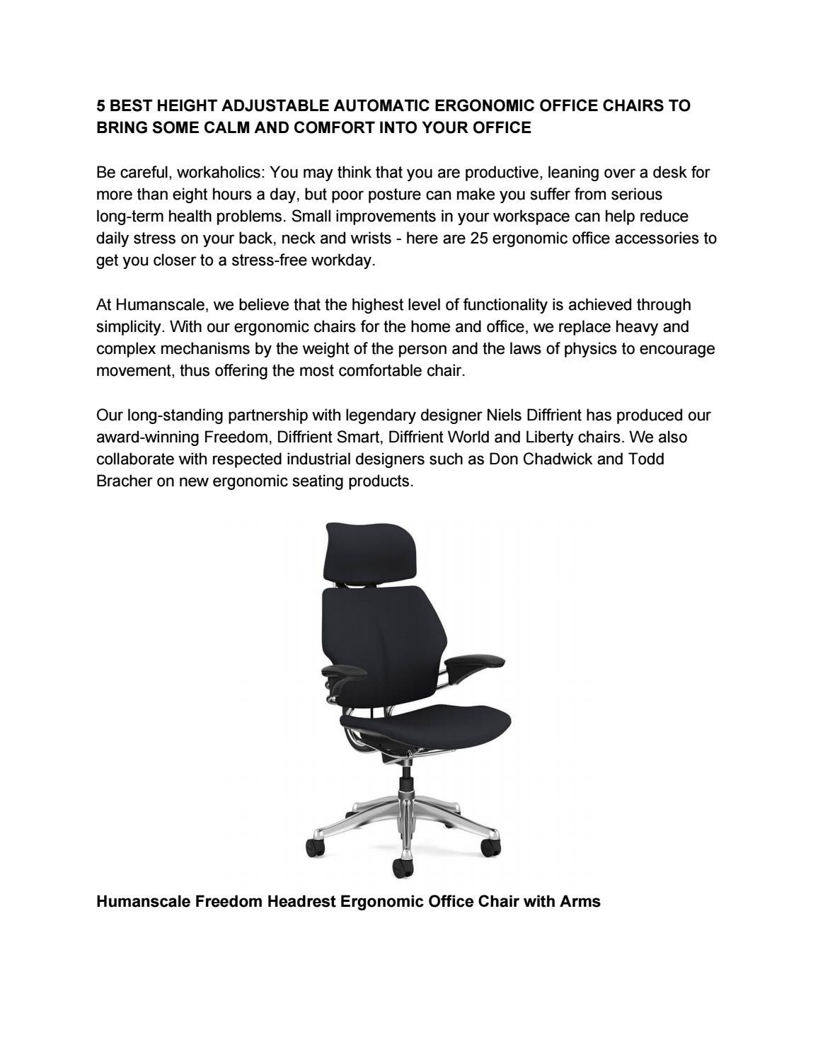 Surprising 5 Best Height Adjustable Automatic Ergonomic Office Chair To Caraccident5 Cool Chair Designs And Ideas Caraccident5Info
