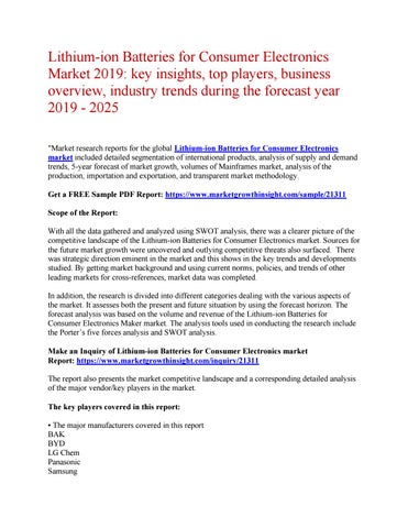 Lithium-ion Batteries for Consumer Electronics Market 2019: key