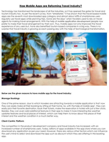 How Mobile Apps are Reforming Travel Industry? by Panacea