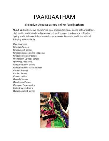 Exclusive Indian Uppada Sarees Online Paarijaatham by