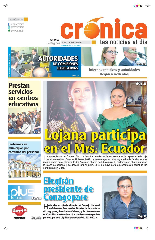 6048fca1e4 DIARIO CRONICA LOJA ECUADOR 18-19 DE MAYO 2019 -SÁBADO DOMINGO- 10463.pdf  by Diario Crónica - issuu